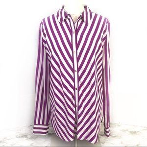 Juicy Couture White and Purple Stripes Silk Top